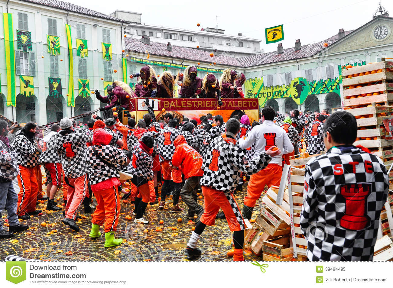 Carnival Of Ivrea. The Battle Of Oranges. Editorial Image.