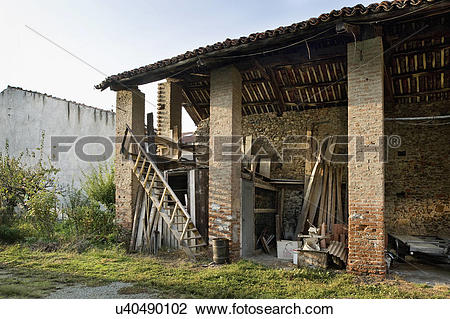 Stock Photo of An abandoned house in Albiano d'Ivrea, Italy.