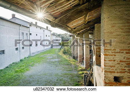 Stock Photo of Street with residential buildings in Albiano d.