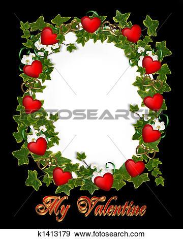 Stock Illustration of Valentine Border Ivy Wreath Hearts k1413179.