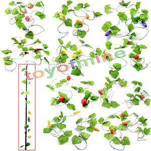 1pc Artificial Vegetable Fruit Ivy Vine Leaf Garland Plants Fake.