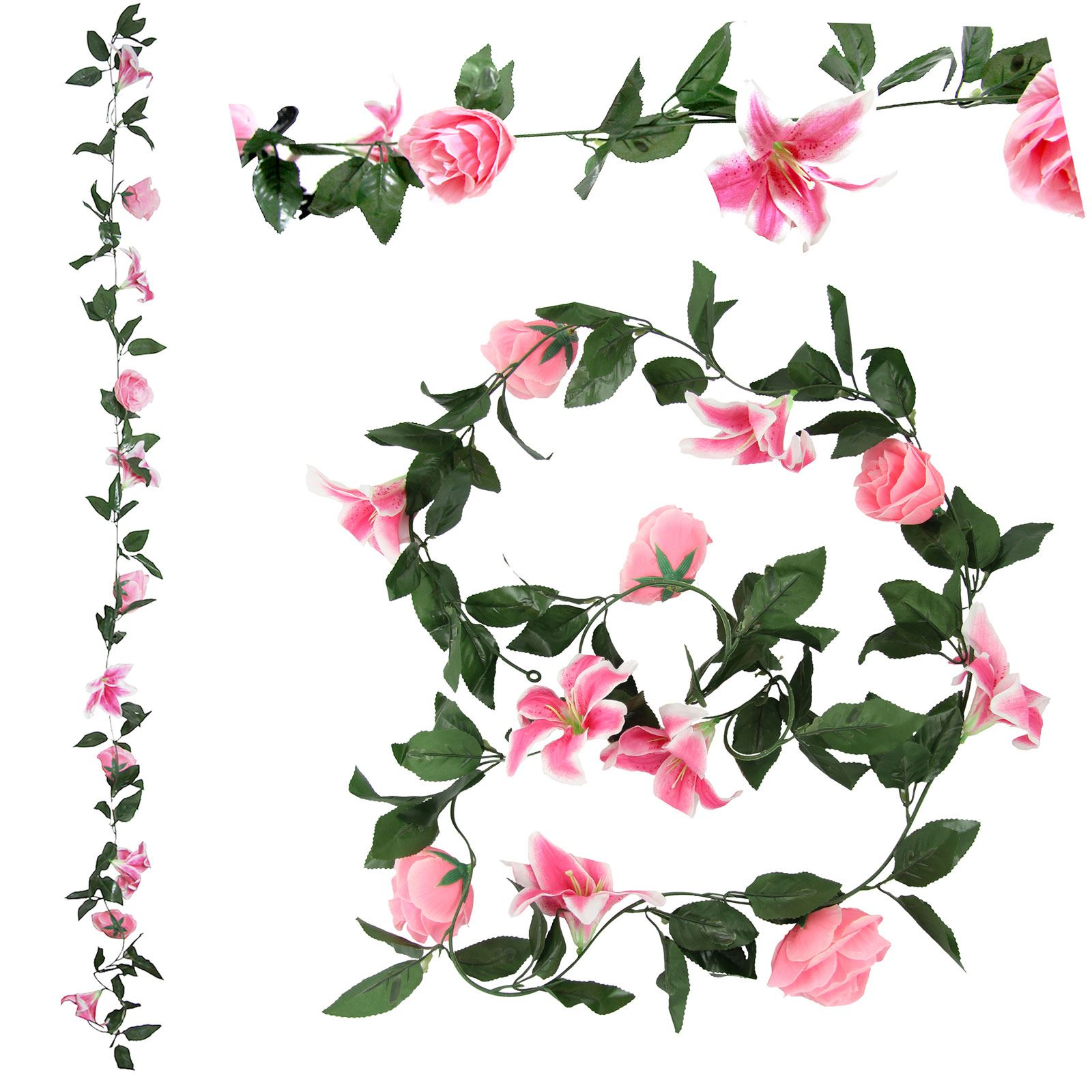 Rose and Lily Flower Garland! Artificial Fake Flowers Vine Ivy.