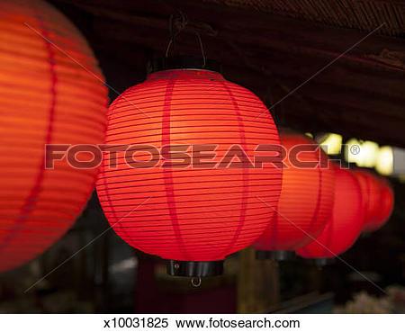 Stock Image of night red paper lanterns Iwakuni Japan x10031825.