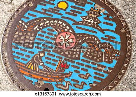 Stock Photography of Kintai Bridge manhole cover Iwakuni x13167301.