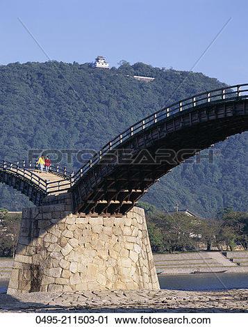 Stock Photography of Japan, Iwakuni, Honshu, Brocade Sash Bridge.