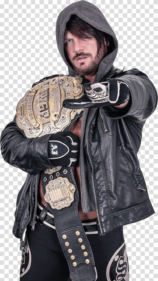 AJ Styles IWGP Heavyweight Champion transparent background.