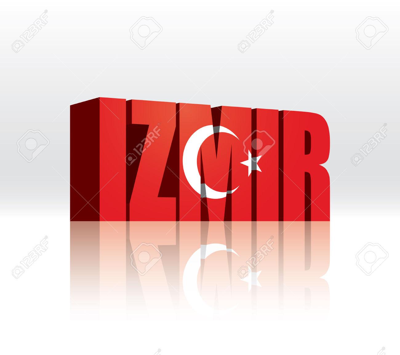 3D Vector Izmir (Turkey) Word Text Flag Royalty Free Cliparts.