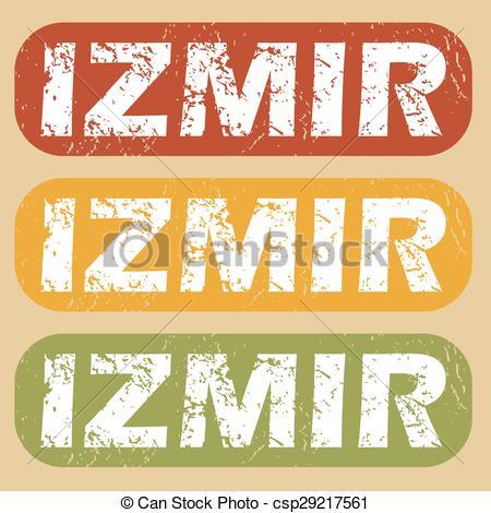 Clip Art Vector of Vintage Izmir stamp set.