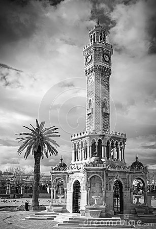 Konak Square View With Old Clock Tower, Izmir Stock Photo.
