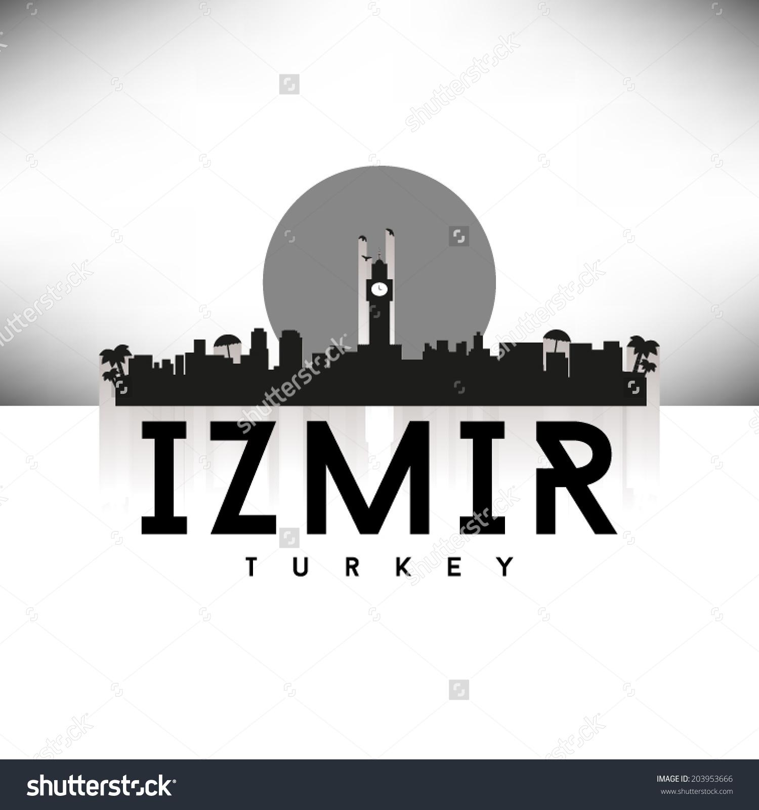 Izmir Turkey Skyline Silhouette Black White Stock Vector 203953666.