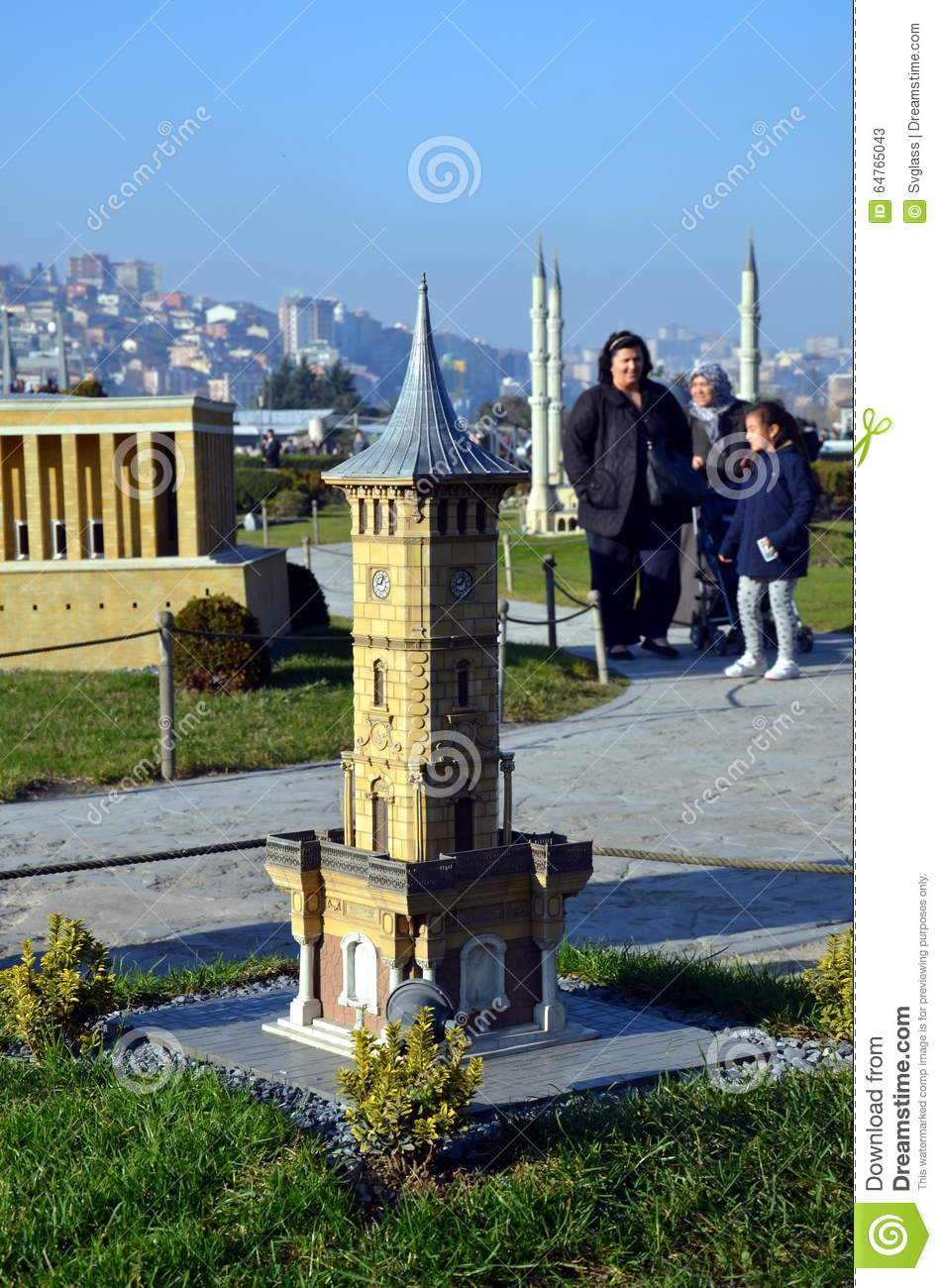 Scale Model Of Clock Tower In Izmit City Editorial Stock Photo.