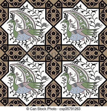 Clip Art Vector of Seljuk style Iznik seamless pattern.