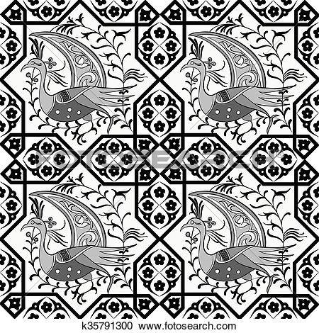 Clipart of Seljuk style Iznik seamless pattern k35791300.