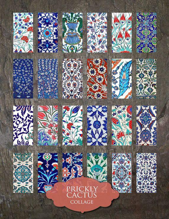 Domino Clip Art, Iznik Tiles, Digital Collage Sheet, Turkish Iznik.