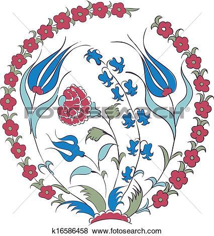 Stock Illustration of Iznik motif k16586458.