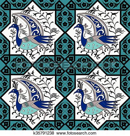 Clip Art of Seljuk style Iznik seamless pattern k35791238.