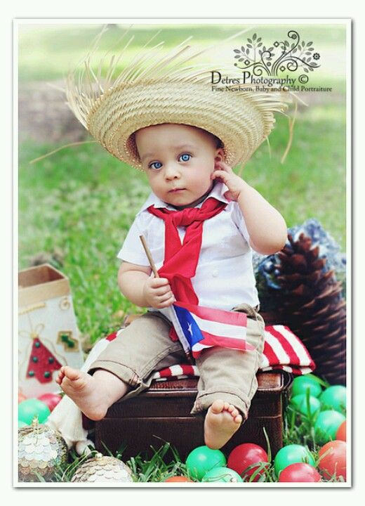 "Puerto Rican baby dressed ""jibaro"" style! Complete with straw hat."