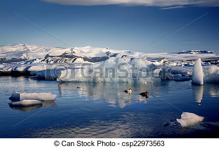 Stock Image of View of the glacier lagoon, Jokulsarlon, Iceland at.