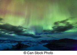 Pictures of Northern Light Aurora borealis Jokulsarlon Glacier.