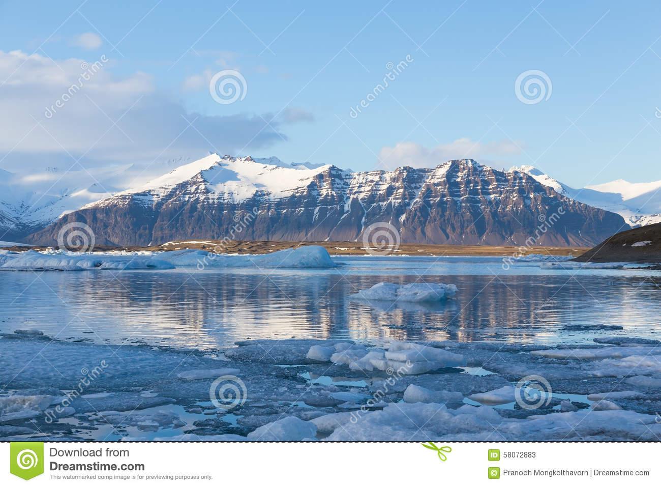 Jokulsarlon Ice Lake With Snow Mountain Background, Iceland Stock.