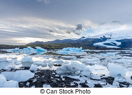 Picture of Icebergs floating in Jokulsarlon glacial lagoon.