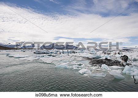 Stock Photography of Iceland, icebergs in jokulsarlon lagoon.