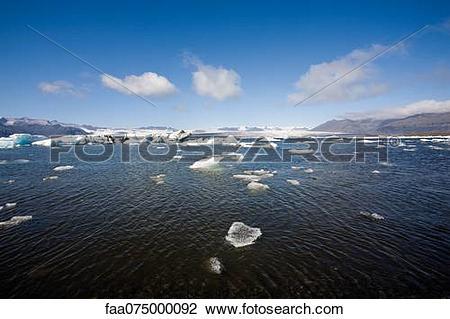 Stock Photo of Jokulsarlon glacial lagoon, Iceland faa075000092.