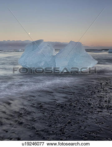 Picture of Icebergs at Jokulsarlon beach, sunset, Iceland.