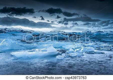 Stock Image of Icebergs floating in Jokulsarlon glacial lagoon.