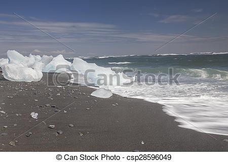 Stock Photo of Ice Beach at Jokulsarlon in Iceland, June 2015.