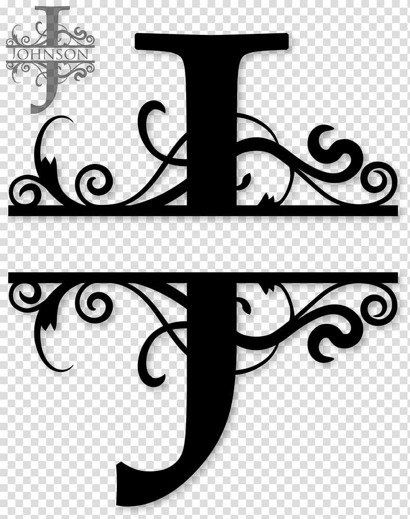 Black frame , Monogram Letter , J transparent background PNG.