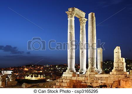 Stock Images of Amman, Jordan, Citadel (Jabal al.