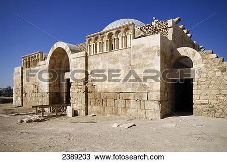 Stock Photo of Old ruins of mosque, Jabal el Qala, Amman, Jordan.