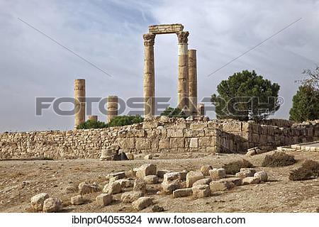"""Stock Photo of """"Temple of Hercules, Jabal el Qala, Amman Citadel."""
