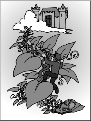 Clip Art: Jack and the Beanstalk 2 Grayscale I abcteach.com.