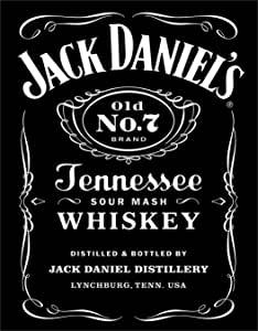 Desperate Enterprises Jack Daniel\'s Whiskey Black Logo Tin Sign, 12.5\