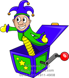 Clip Art Illustration of a Jack in the Box Toy.