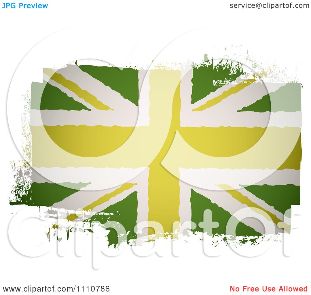 Clipart Painted UK British Union Jack Flag In Green.