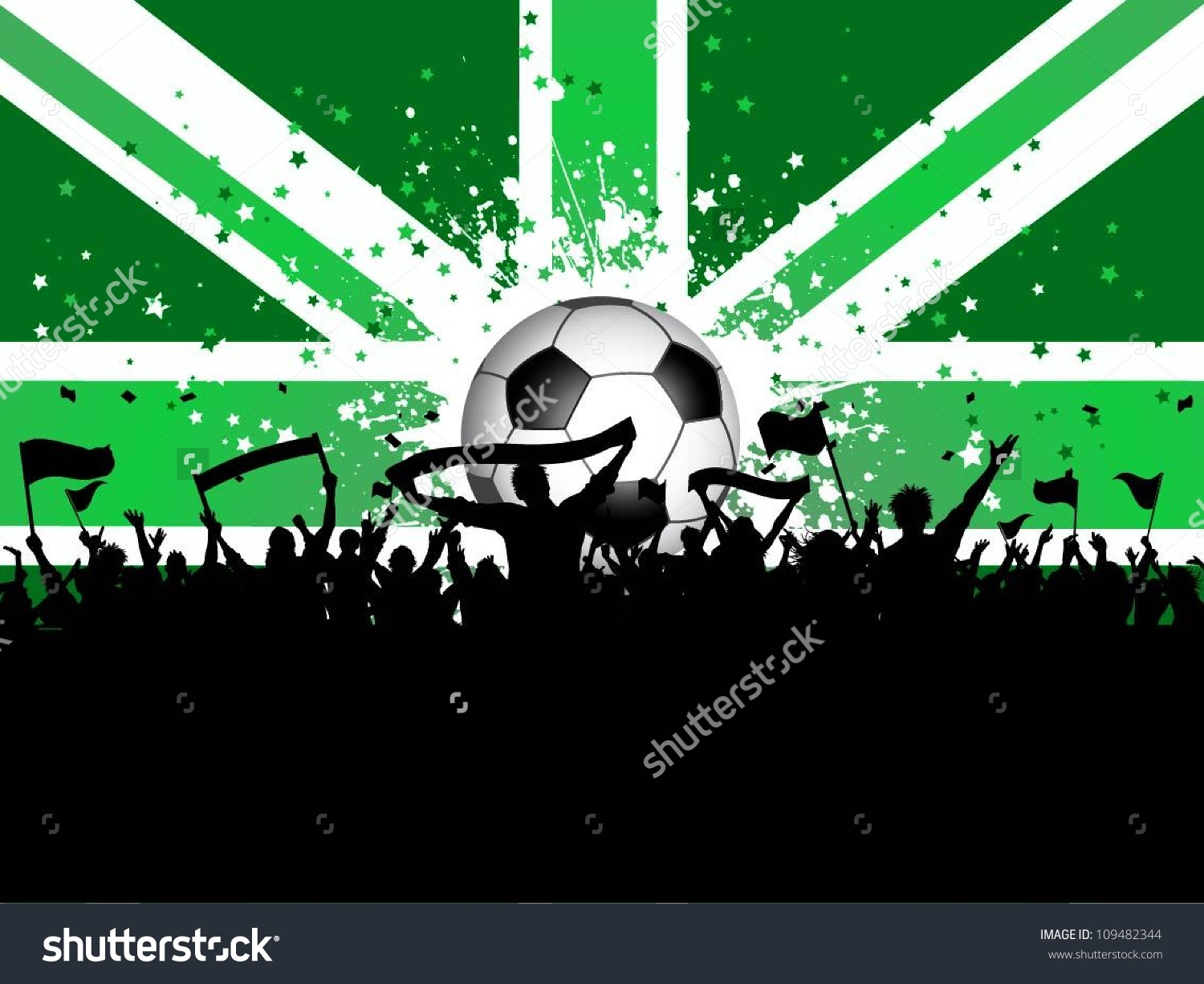 Football Crowd Banners Flags On Union Stock Vector 109482344.
