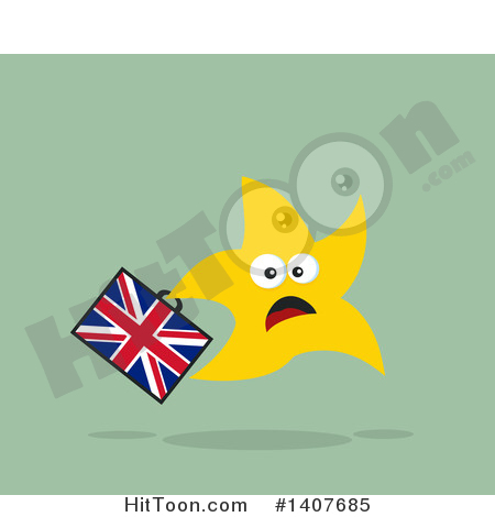 Brexit Clipart #1407685: Flat Design Brexit Scared Star Running.