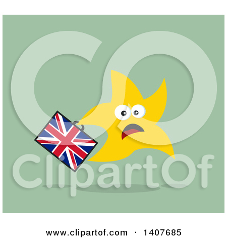 Clipart of a Flat Design Brexit Happy Star Running with a Union.