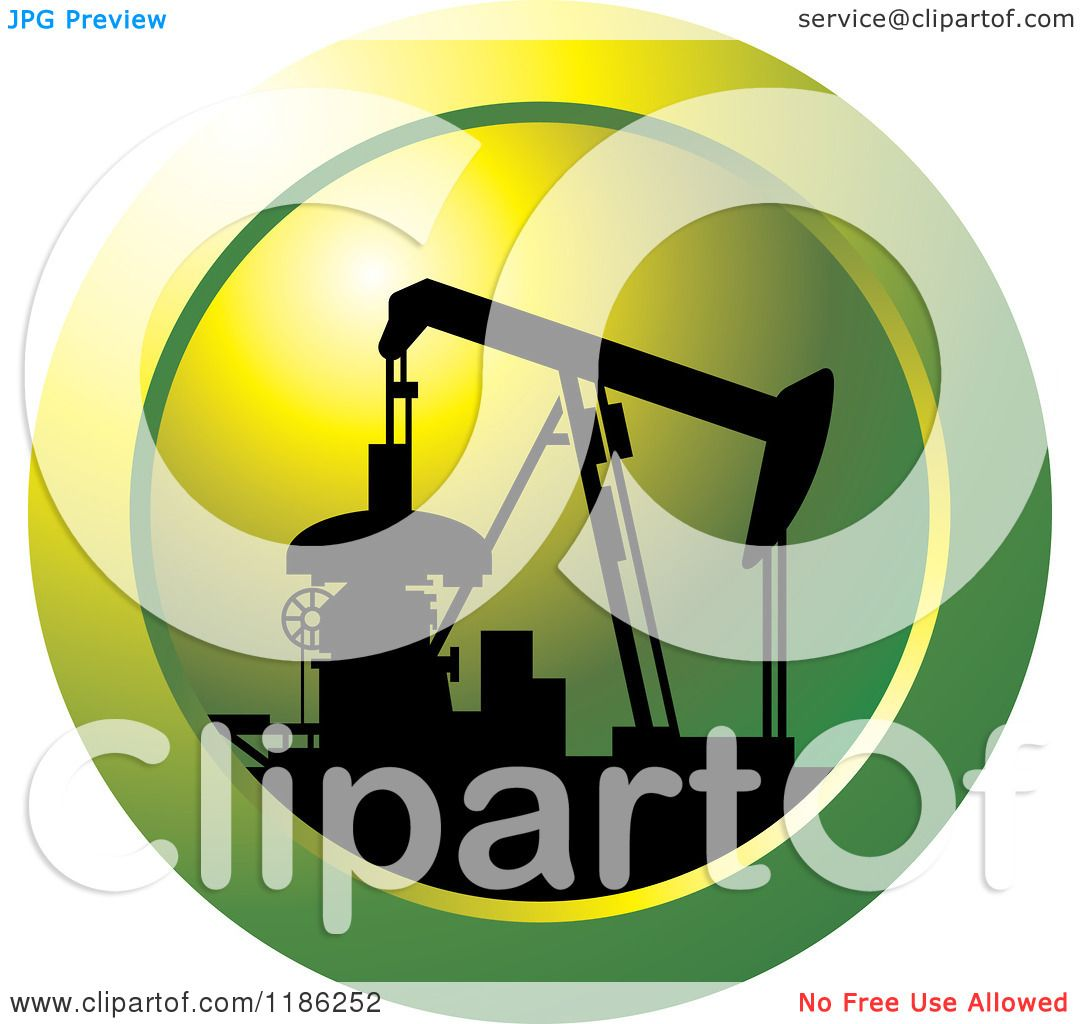 Clipart of a Silhouetted Pump Jack on a Green Icon.