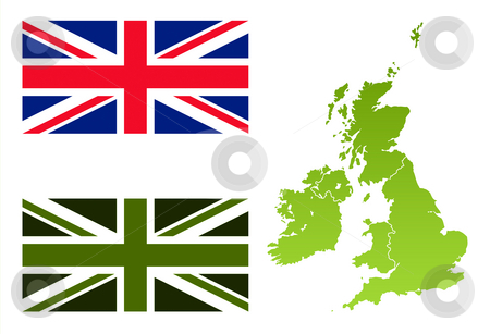 Union Jack eco flag and England map stock photo.