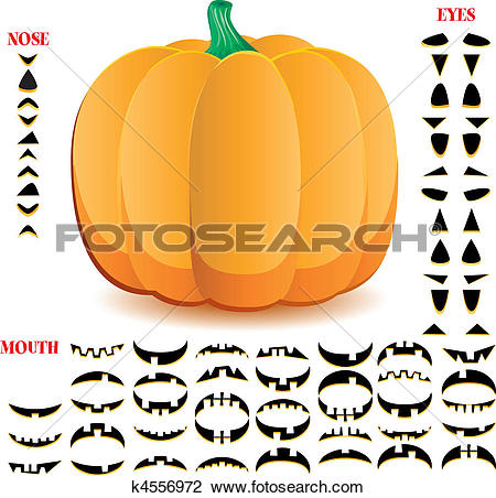 Clipart of Halloween pumpkin with big set of mouths, eyes and.