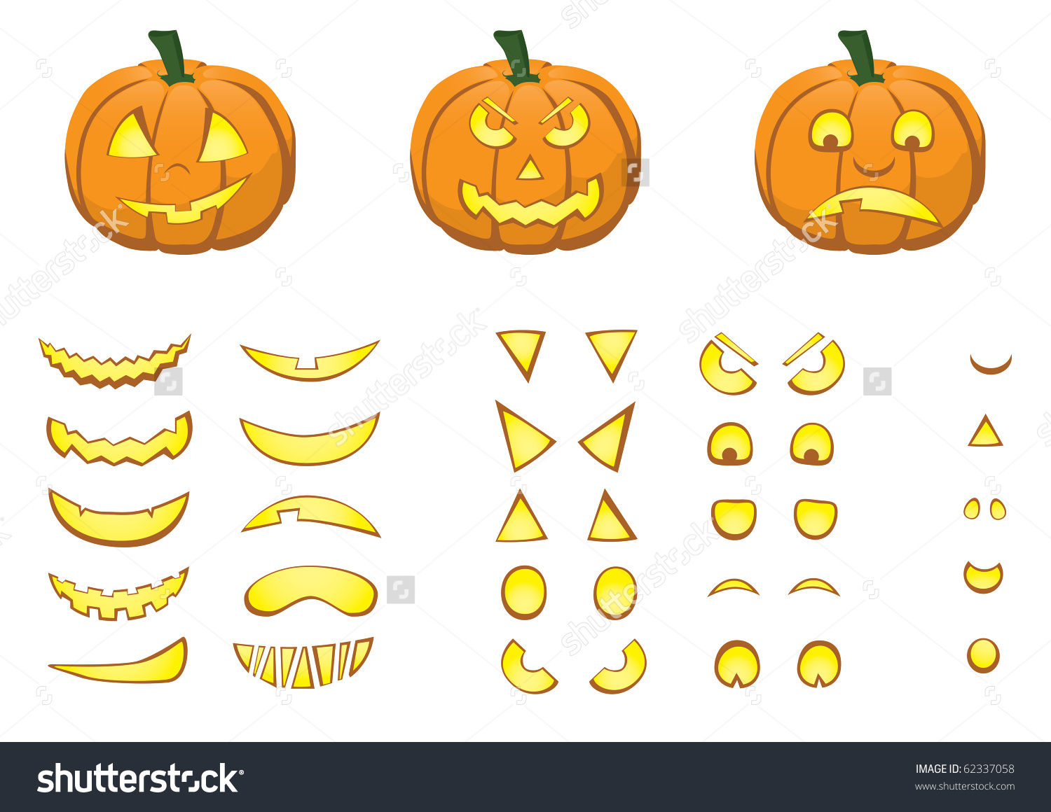 A Jack O'Lantern Pumpkin With Over 500 Combinations On Mouth, Eyes.