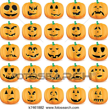 Big set of halloween pumpkins with Jack O`Lantern face, vector illustration  Clipart.