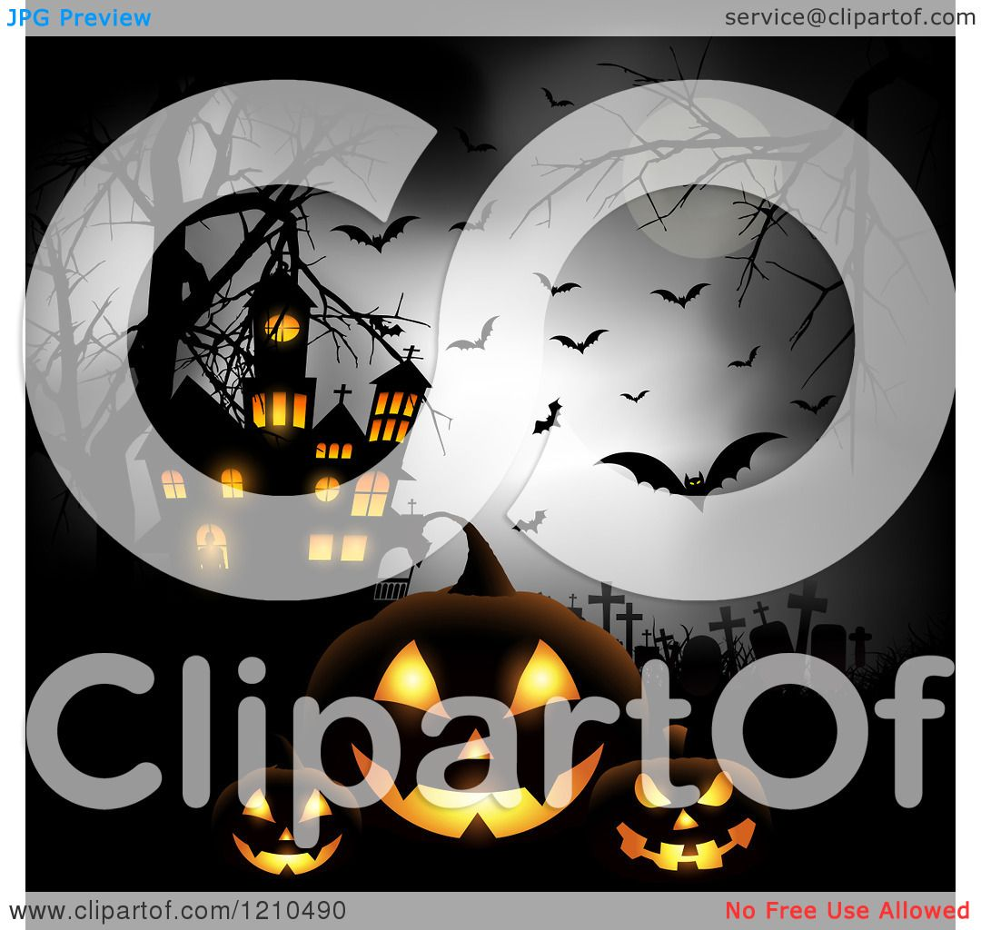 Clipart of a Halloween Haunted House with Bats a Full Moon and.