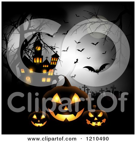 Clipart Dark Cemetery With A Cat Spider Bats Full Moon And Haunted.