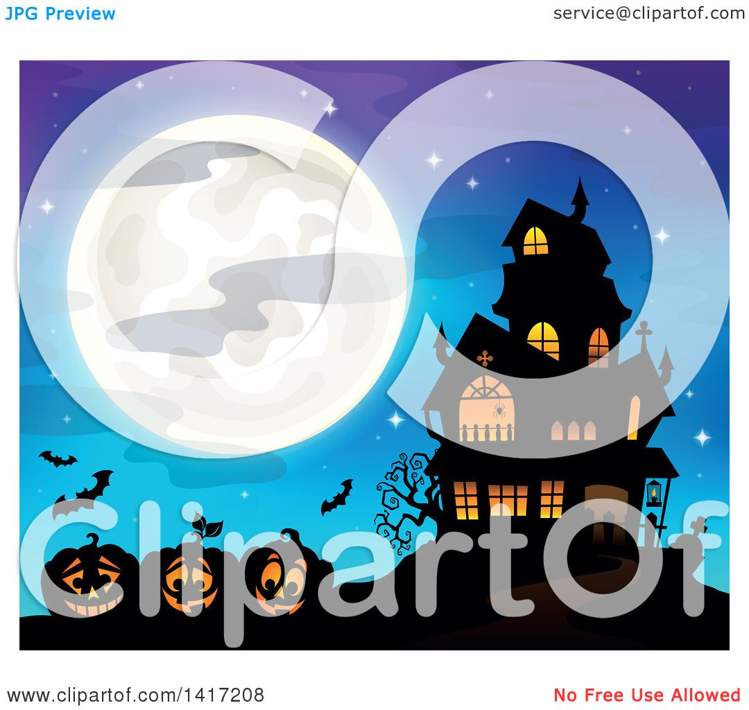 Clipart of a Haunted House with Bats and Halloween Jackolantern.