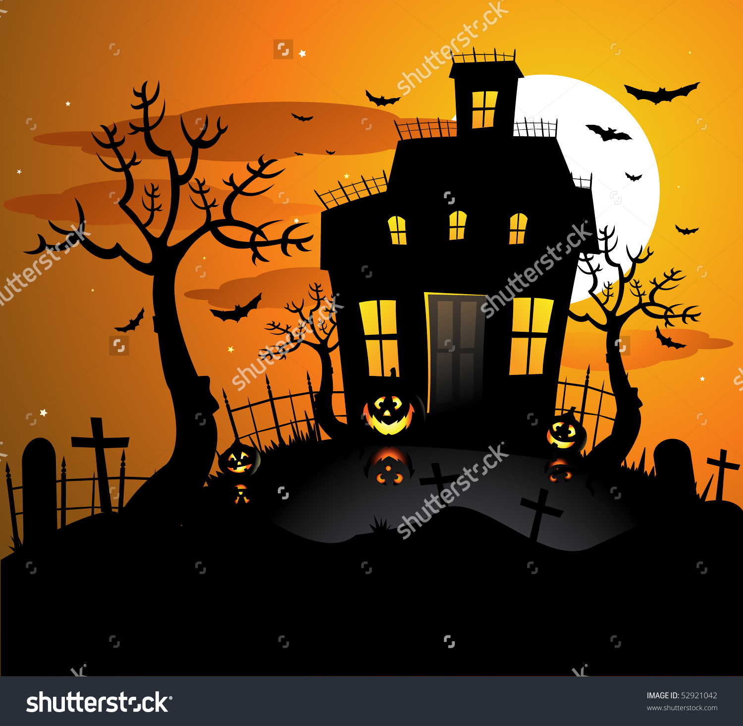 Haunted House Halloween Background Stock Vector 52921042.